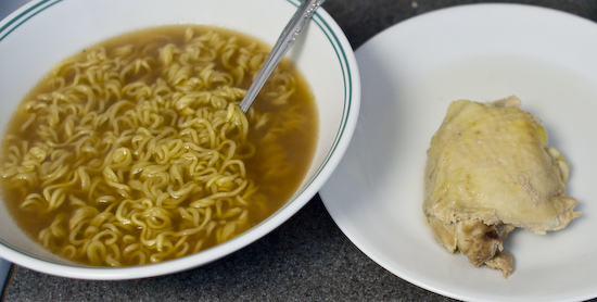 Instant Ramen with Boiled Chicken Thigh
