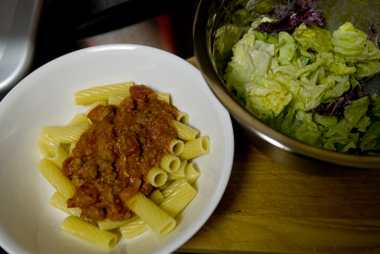 Rigatoni with Meat Sauce and Salad