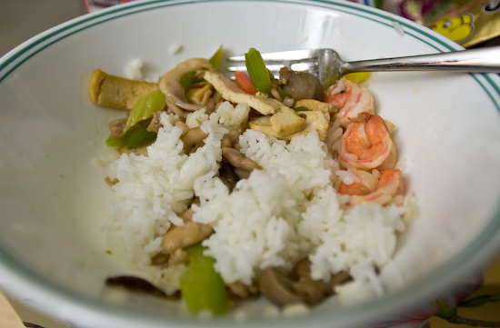 Shrimp with Pineapple and Chicken and Bean Curd, Celery, and Mushrooms On Rice