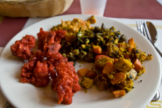 Mayuri Indian Cuisine - Chicken 65, Carrots and Bananas, and Okra