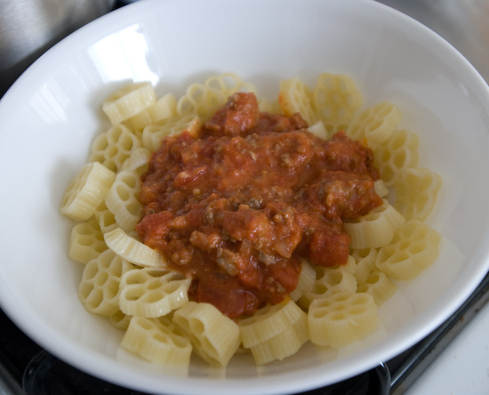Ruote with Meat Sauce