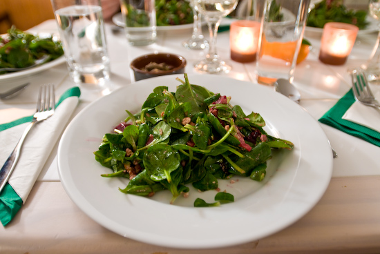 Baby Spinach, Mache, Beets, and Bleu Cheese Salad