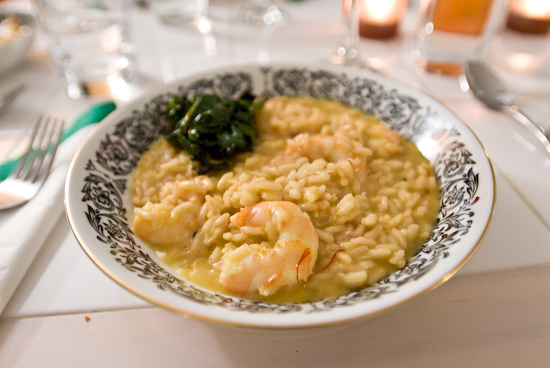 Shrimp Risotto Infused with Saffron with Beet Greens