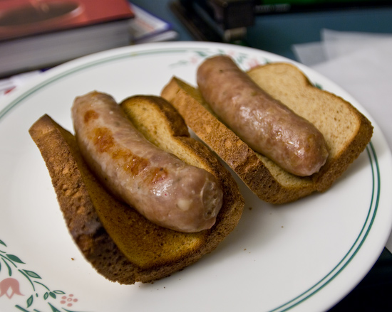 Fresh Italian Sausages on Toasted Whole Wheat Sandwich Bread