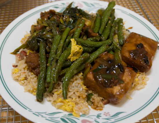 China Stix - Mongolian Beef, Hunan Family Style Tofu, String Beans, and Pork Fried Rice