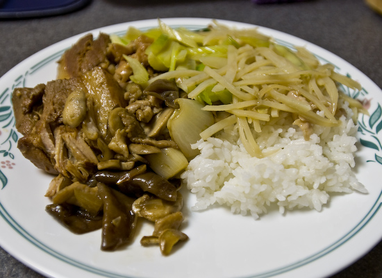 Stewed Pork, Shredded Potatoes, Pork with Button and Woodear Mushrooms, and Stir-Fried Celery over Rice