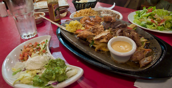 Chevy's - Mixed Grill Fajitas with a Side Caesar Salad