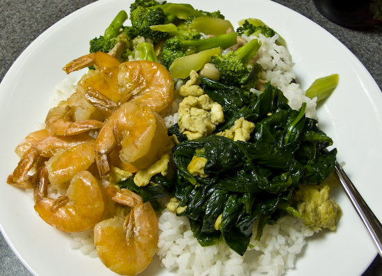 Stir-fried Broccoli with Pork, Spinach and Egg, and Shrimp Over Rice