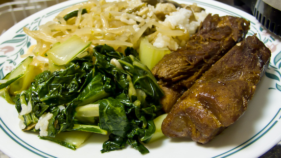 Stewed Pork Ribs, Bok Choy, Bean Sprouts, and Mushrooms with Rice