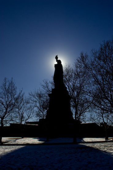 Backlit Statue of Liberty
