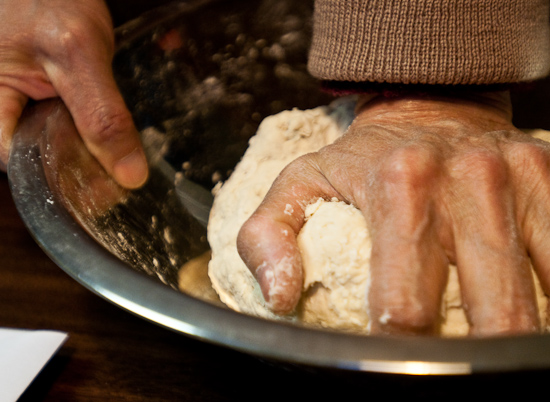 Kneading the dumpling dough