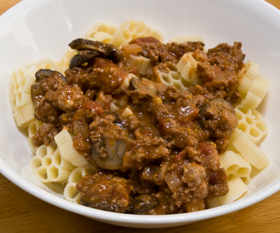 Ruote and Meat Sauce
