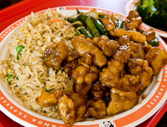 Panda Express - Fried Rice, Orange Chicken, and Green Beans