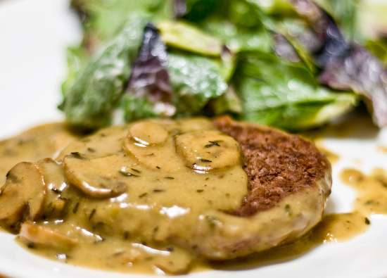 Salisbury Steak with Mushroom Gravy and Salad