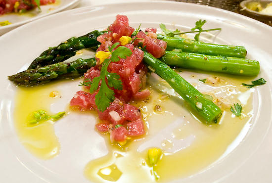 Chez Panisse - Tuna tartare and green asparagus salad with mustard flower vinaigrette