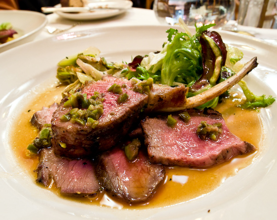 Chez Panisse - Grilled rack and loin of Cattail Creek Ranch lamb with tapenade sauce, artichoke and spring onion  ragoût, and warm chicories