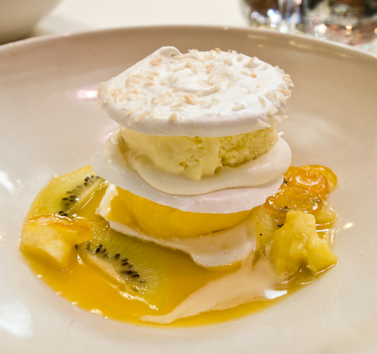 Chez Panisse - Passion fruit ice cream and tangerine sherbet meringata