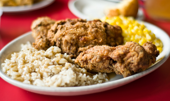 Hard Knox Cafe - Fried Chicken with Corn and Rice & Gravy