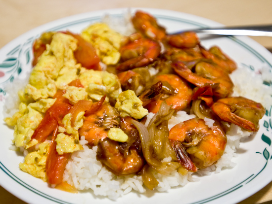 Shrimp, Tomato and Eggs, White Rice