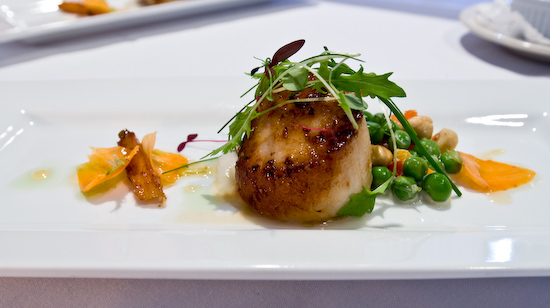 Zoot - Seared scallops with sunchoke puree, hazel nuts, English peas and key lime gastrique
