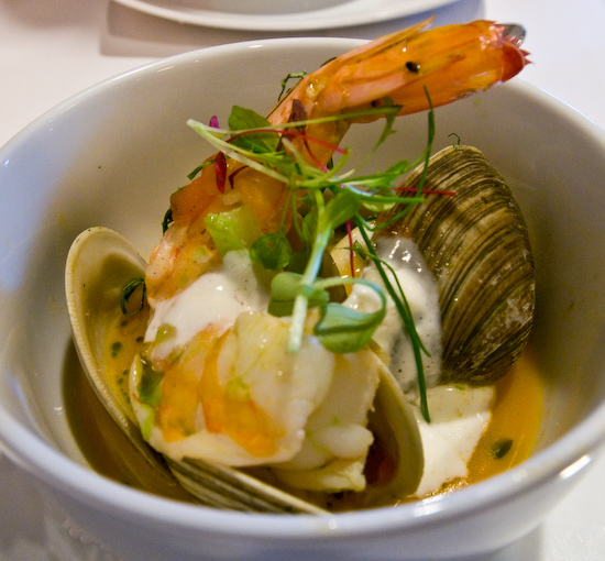 Zoot - Shrimp and littleneck clams in saffron broth with tomato, basil and creme fraiche