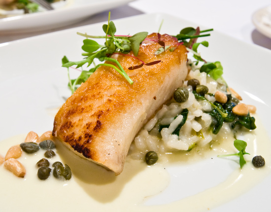 Zoot - Roasted Kona snapper with wild mushroom and spinach risotto, beurre blanc, capers and pine nuts