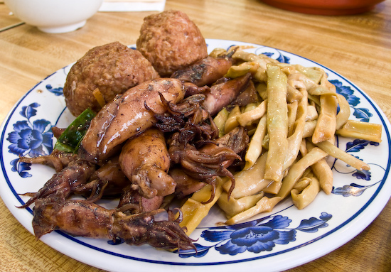 Porridge Place - Bamboo Shoots, Squid, and Lion's Heads (meatballs)