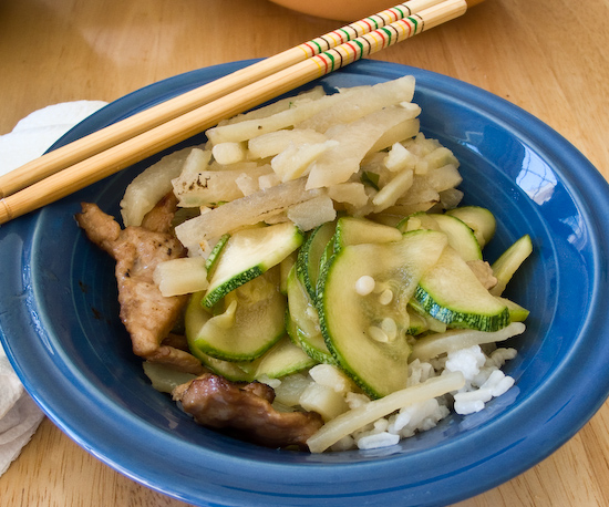 Rice with potatoes and daikon, pork, and zucchini