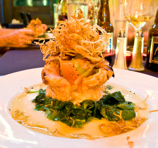 Fion Wine Pub - Atlantic Salmon stuffed with Grilled Leeks & drizzled with Spinach & Herb Oils