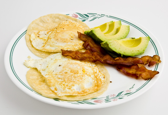 Fried Eggs, Bacon, and Avocado