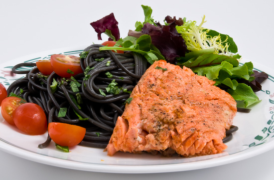 Sockeye Salmon with Squid Ink Spaghetti