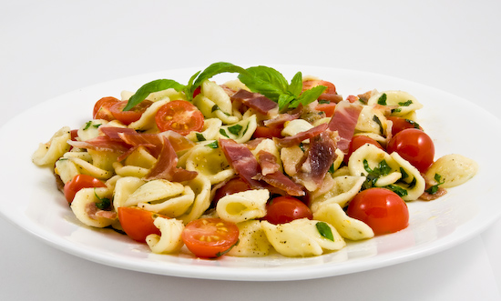 orrichiette with fresh basil, cherry tomatoes, and prosciutto