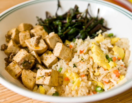 Leftover fried rice, mapo doufu, and red dandelion greens