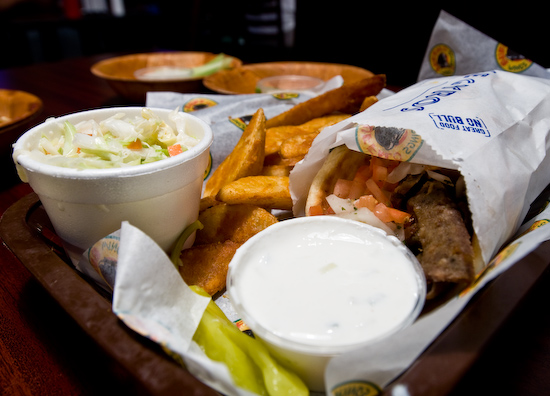 Buffalo Wings and Rings - Gyro Pita with Slaw and Potato Wedges