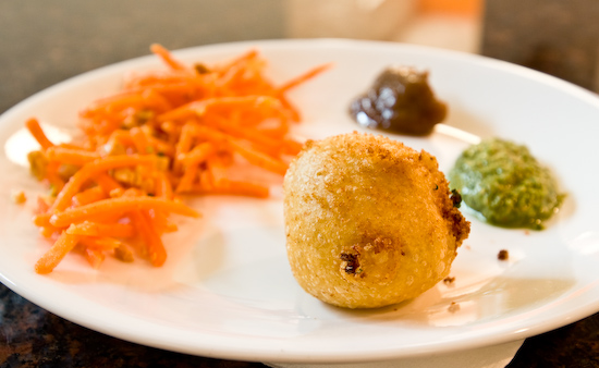 Potato Fritters, Carrot Salad, Chutney