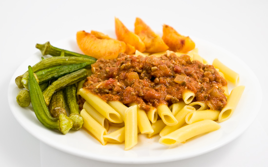 Maestri Pastrai Lemon Penne with Meat Sauce, Okra Chips, and Fresh Stone Fruit