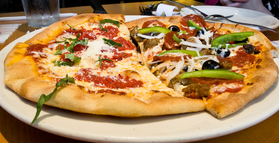 California Pizza Kitchen - The Works and Italian Tomato & Basil Pizza