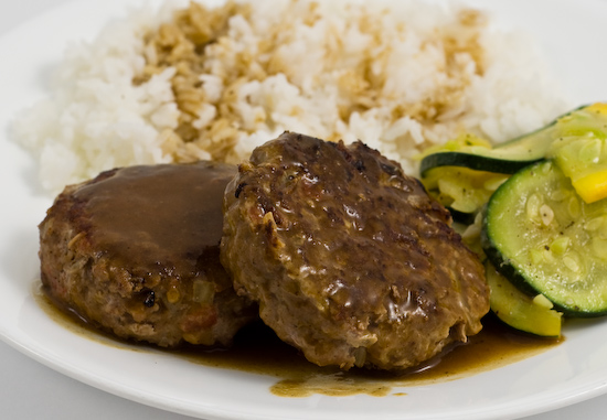 Salisbury Steak, Gravy, Summer Squashes, and Rice