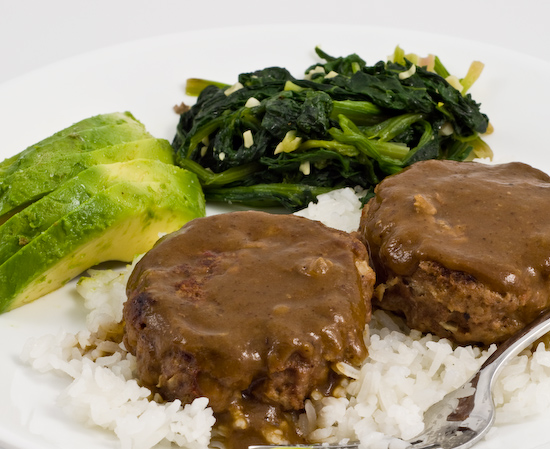 Salisbury Steak with spinach and avocado