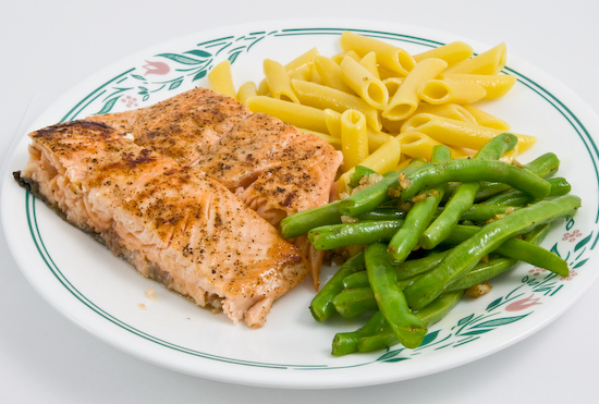 Salmon, Green Beans, and Lemon Penne