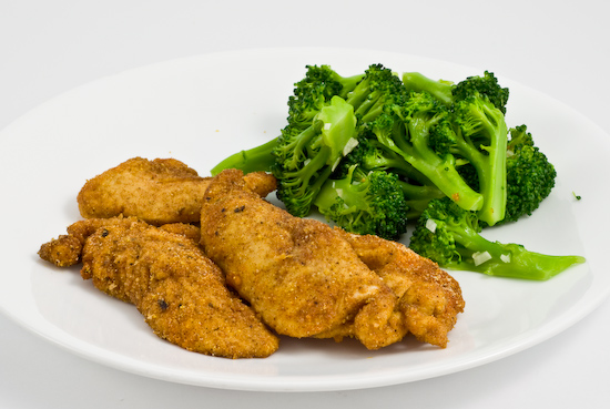 Chicken tenders and broccoli