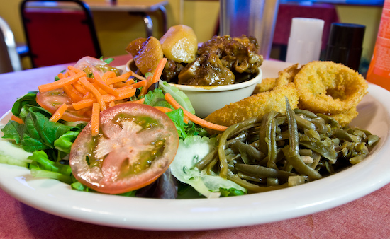 Victory Grill - Oxtail with Green Beans and Onion Rings