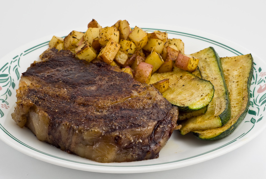Rib Eye Steak with Red Potatoes and Zucchini