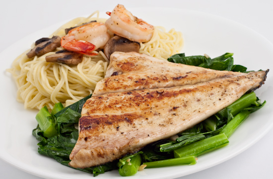 Pan Fried Kona Kampachi Fillet, Capellini with mushrooms and shrimp, Collard greens