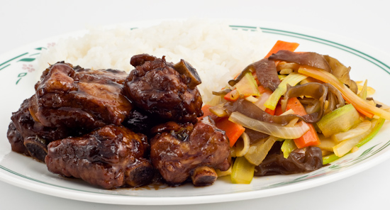 Sweet and Sour Pork Ribs, Mixed Vegetable Stir-Fry