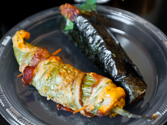 Austin Food Blogger's Potluck - bacon wrapped stuffed hatch chile, sushi hand roll