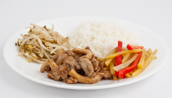 mung bean sprouts, pork with oyster mushrooms, and potato, pepper and celery stir-fry