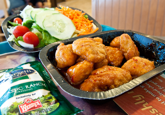Wendy's Sweet & Spicy Asian Chicken Boneless Wings with Side Salad