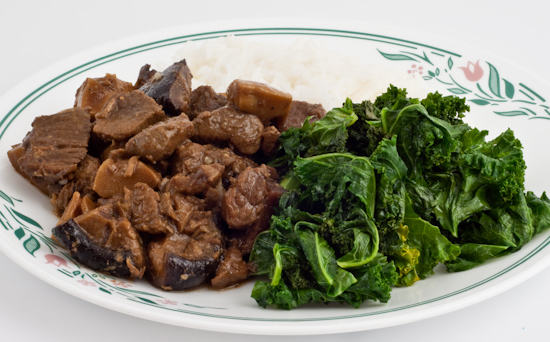 Chinese stewed beef, kale