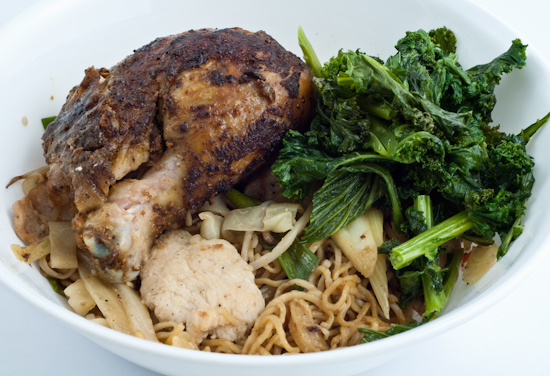 Noodles, roast chicken, kale